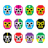 Lucha Libre, luchador pixelated Mexican wrestling masks icons. Vector icons set of masks worn during wrestling fights in Mexico isolated on white - 8bit style Royalty Free Stock Images