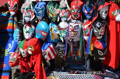 Lucha Libre Masks. A display of Mexican wrestling masks for sale from a vendor's cart in Old Town, San Diego Stock Image
