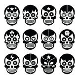 Lucha Libre - Mexican sugar skull masks black icons. Vector icons set of Mexican wrestling masks on skulls isolated on white Royalty Free Stock Image