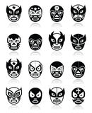 Lucha libre, mexican wrestling icons Royalty Free Stock Images