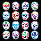 Lucha Libre Mexican wrestling masks icons on black. Vector icons set of masks worn during wrestling fights in Mexico isolated on black Stock Images