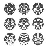 Lucha libre, mexican wrestling masks icons set Stock Photos