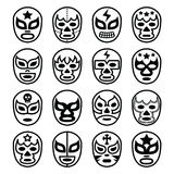 Lucha Libre Mexican wrestling masks - line black icons. Vector icons set of masks worn during wrestling fights in Mexico isolated on white Royalty Free Stock Photo