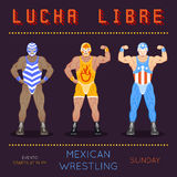 Lucha libre poster. Vintage wrestling placard template Stock Image