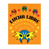Lucha Libre - spanischen Text wringend - mexikanische Ringkämpfermaske - Plakat Stockfotos