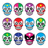 Lucha Libre - sugar skull masks icons. Vector icons set of Mexican wrestling masks on skulls isolated on white Royalty Free Stock Photos
