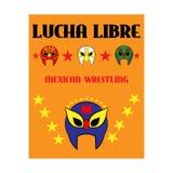 Lucha Libre - testo spagnolo lottante - maschera messicana del lottatore - manifesto Immagine Stock Libera da Diritti