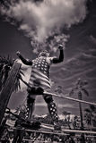 Lucha Libre Wrestler i den gamla staden San Diego, Kalifornien, USA arkivfoton