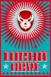 Lucha Libre wrestling spanish text Mexican wrestler mask silkscreen poster. Eps available Stock Photo