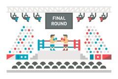 Lucha plana de la etapa del boxeo del diseño ilustración del vector
