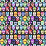 Luchador或战斗机面具集合 与手拉的lucha libre的无缝的样式 免版税图库摄影