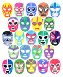 Luchador or fighter mask set. Hand-drawn lucha libre free fight masks. Colorful helmets on the white background. Real watercolor drawing Stock Images