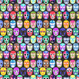 Luchador or fighter mask set. Seamless pattern with hand-drawn lucha libre vector illustration