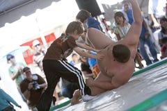 Luchador y niño del sumo Fotografía de archivo libre de regalías