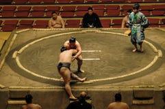 Luchadores en el torneo magnífico del sumo en Tokio Fotos de archivo
