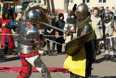 Luchas de los caballeros Imagen de archivo libre de regalías