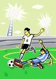 Luchas de los jugadores de fútbol. Imágenes de archivo libres de regalías