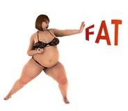 Luchas gordas gordas de la mujer para la pérdida de peso Imágenes de archivo libres de regalías