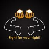 Luche para que su derecha beba una cerveza Imagen de archivo libre de regalías