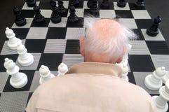 Lucht achter hoofdmening van een Oude manplay reuzestraat ches royalty-vrije stock afbeelding