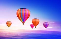Lucht-ballons in hemel royalty-vrije stock afbeelding