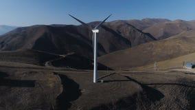 Lucht de hommelmening van de windenergietechnologie over Windenergie stock footage