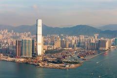 Lucht de menings centrale zaken van Hong Kong de stad in Royalty-vrije Stock Foto's