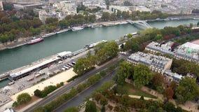 Lucht de schuine standmening van Parijs van Zegen en bruggen royalty-vrije stock afbeelding
