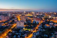 Lucht de zomercityscape van nachtvoronezh van dak 3d geef illustratie terug Royalty-vrije Stock Foto's