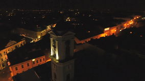 Lucht geschotene nachtstad stock footage