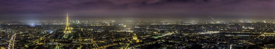Lucht het panoramamening van Parijs bij nacht Stock Afbeelding