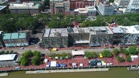 Lucht historische Savannah Riverfront stock videobeelden