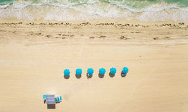 Lucht hoogste mening over het strand van Miami Royalty-vrije Stock Afbeeldingen