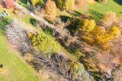 Lucht hoogste mening van herfstpark met de schaduwen van parkbomen royalty-vrije stock foto