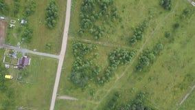 Lucht hoogste mening van landweg door gebieden en bossen in de zomer klem Hoogste mening van het bosgebied met weg stock videobeelden