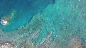 Lucht hoogste mening van oceaangolven die op het rotsenstrand breken in Tenerife, Canarische Eilanden stock video