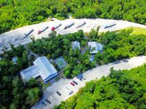 Lucht I-10 wegparkeerplaats in Hankamer, Texas, de V.S. stock fotografie