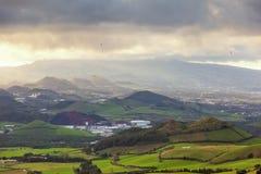 Zware wolken over het eiland van San Miguel Royalty-vrije Stock Foto