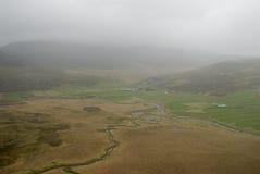 Lucht mening aan het landschap van IJsland Stock Foto