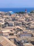 Lucht mening aan Mediterrane stad Royalty-vrije Stock Foto