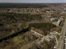Lucht Mening Bos in de stad van Novosibirsk, Siberië stock foto