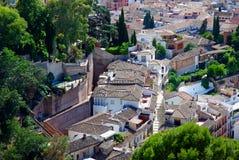 Lucht mening: daken in Granada Stock Afbeelding