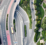 Lucht Mening: De kruising van wegen stock afbeelding