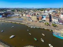 Lucht Mening De stad van Wexford mede Wexford ierland stock foto