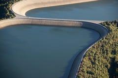 Lucht Mening: Detail van een versperring met 2 meren Royalty-vrije Stock Afbeelding