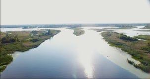 Lucht Mening Het vliegen over de mooie Rivier en het mooie bos Luchtcameraschot stock videobeelden