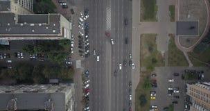 Lucht Mening Hommellengte van de wegen van de verkeersstad Stedelijke districts4k 4096 x 2160 pixel van stadskievpecherski stock video