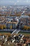 Lucht mening in Lyon Stock Foto