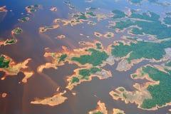 Lucht mening over de rivier van Orinoco Stock Afbeeldingen
