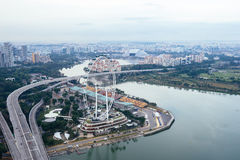 Lucht mening over de Vlieger van Singapore Royalty-vrije Stock Afbeeldingen